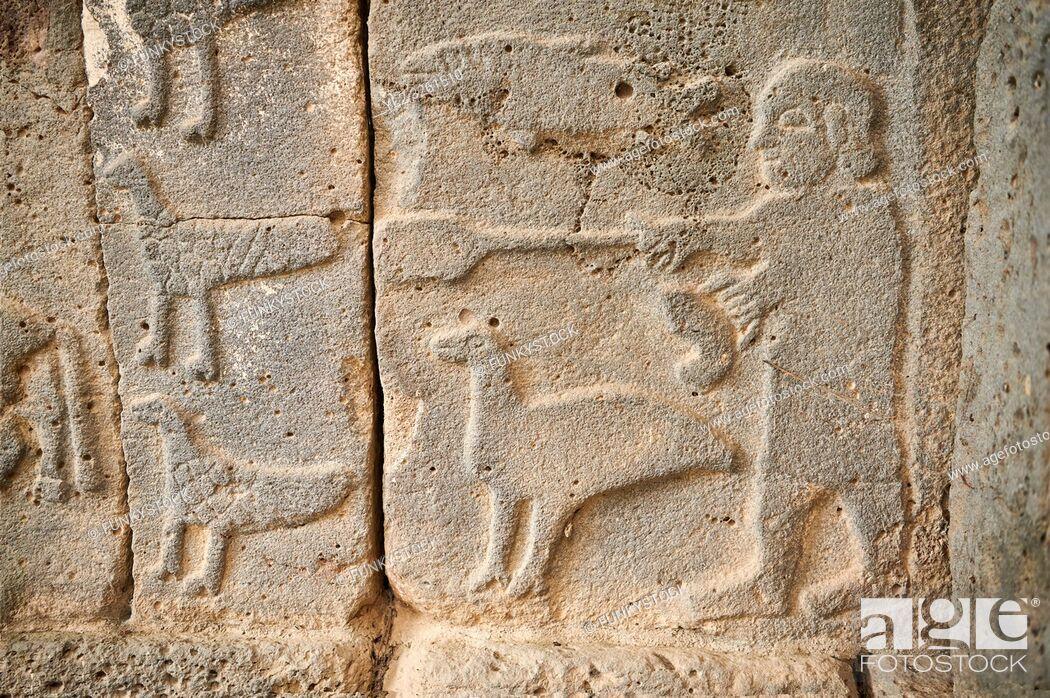 Stock Photo: Pictures & images of the South Gate Hittite sculpture stele depicting Hittite Gods. 8th century BC. Karatepe Aslantas Open-Air Museum (Karatepe-AslantaŠŸ Açık.