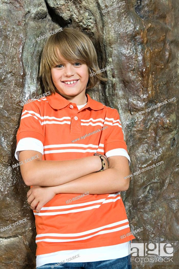 Stock Photo: Portrait of a smiling boy.