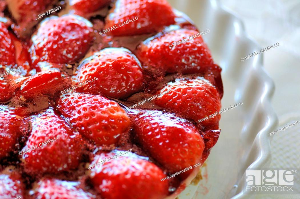 Stock Photo: Home made strawberry pie.