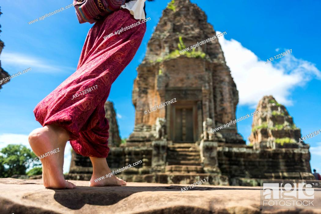 Stock Photo: East Mebon Temple dedicated to Hindu god Shiva, built by the king Rajendravarman VII in tenth century, from Angkor; Siem Reap, Cambodia.