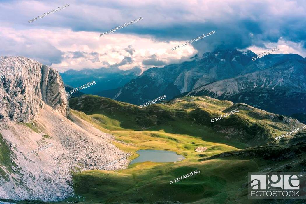 Stock Photo: Scenic view of Italian Dolomites on sunny autumn day.