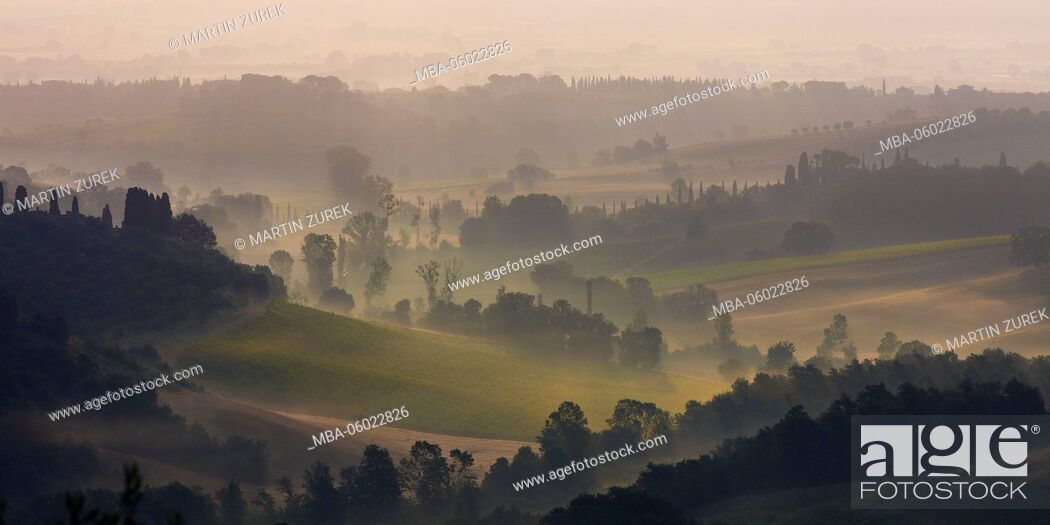 Stock Photo: Tuscan scenery in the morning fog shortly after sunrise, Italy, Siena,.