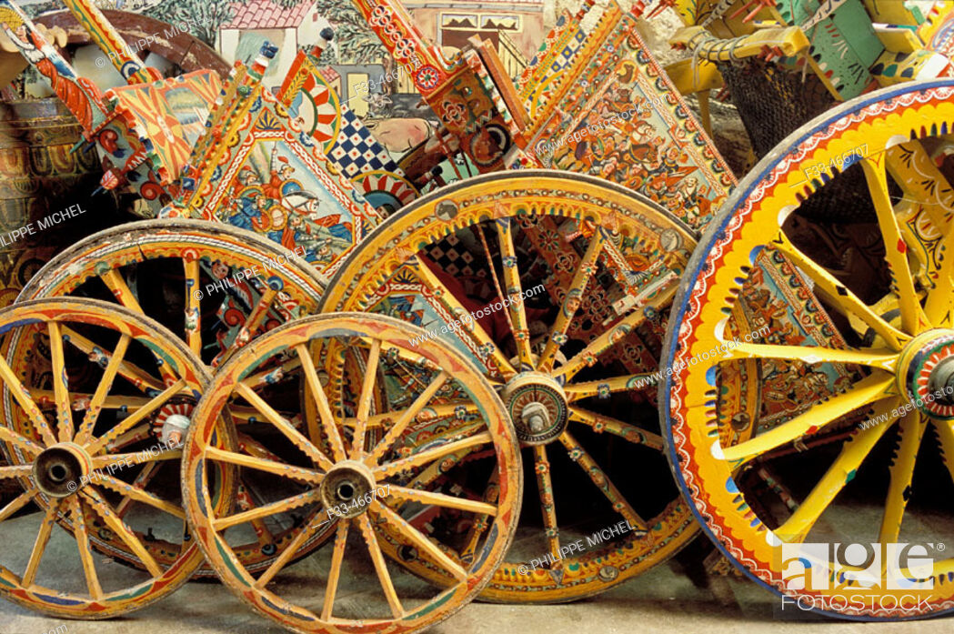 Stock Photo: Workshop Franco Bertolino, artist painter of traditional sicilian cart. Palerme (palermo). Sicily. Italy.