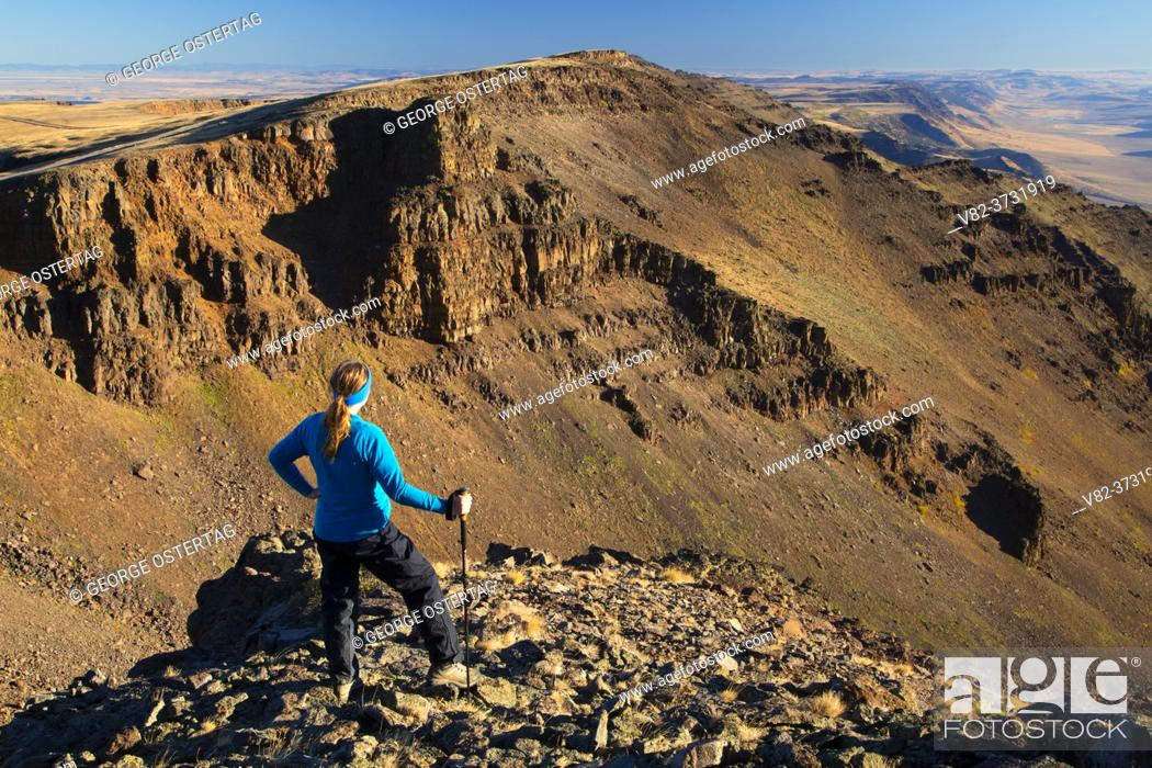 Stock Photo: Steens Mountain front at East Rim Overlook, Steens Mountain Cooperative Management and Protection Area, Steens Mountain Backcountry Byway, Oregon.