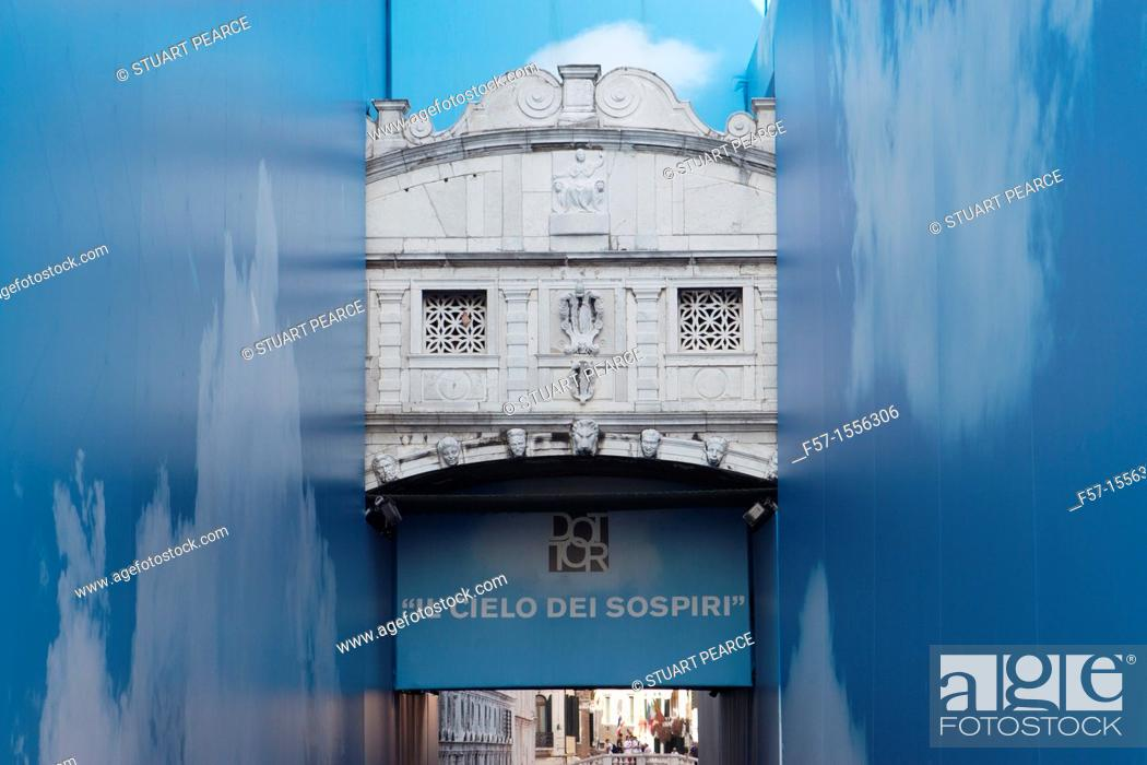 Stock Photo: Restoration of the Bridge of Sighs in Venice, Italy.