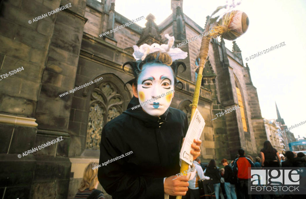 Stock Photo: Painted as advertisement for a show at the Festival Fringe. Royal Mile. Edinburgh. Scotland. UK.
