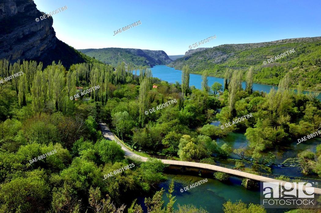Stock Photo: View of Lake Visovac near Roski Slap, Krka Waterfalls, Krka National Park, Croatia.