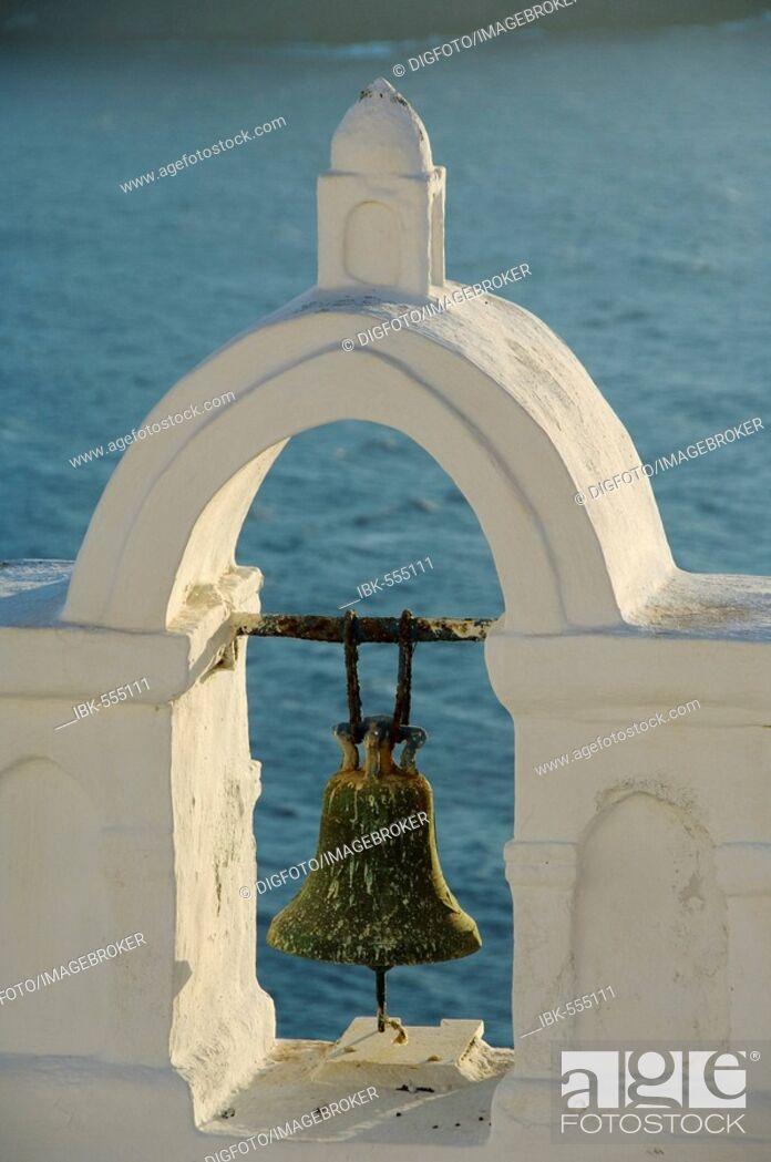 Stock Photo: Bell tower, Oia, Santorini, Cyclades, Aegean Sea, Greece.