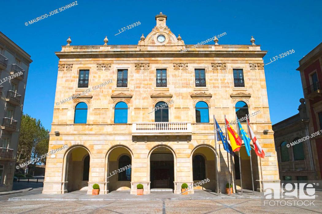 Stock Photo: City Hall. Gijón. Asturias, Spain.