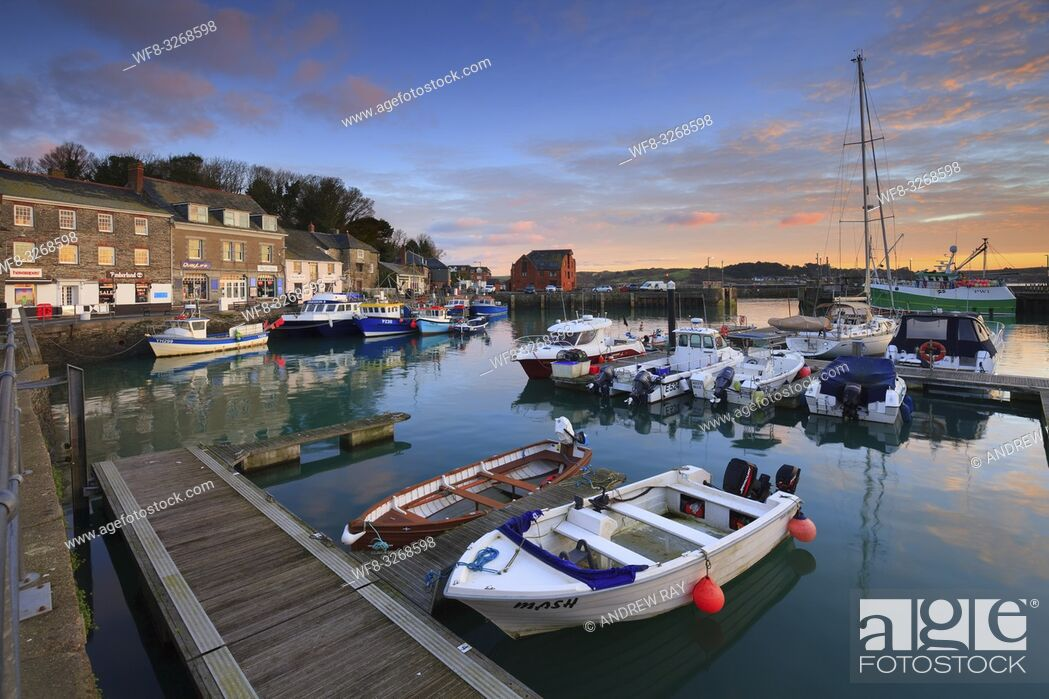 Stock Photo: Padstow Harbour on the North Coast of Cornwall, captured at sunrise on a still morning in January.