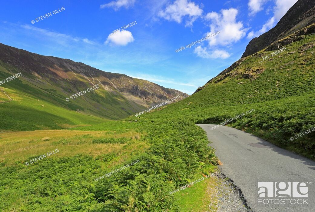 Stock Photo: Southern end of Honister Pass near Buttermere, Cumbria, Lake District National Park, England, UK.