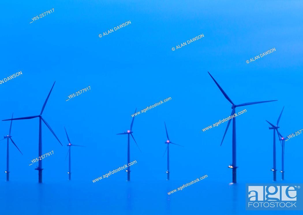 Stock Photo: Teesside Offshore Windfarm near Redcar on the north east coast of England, United Kingdom.