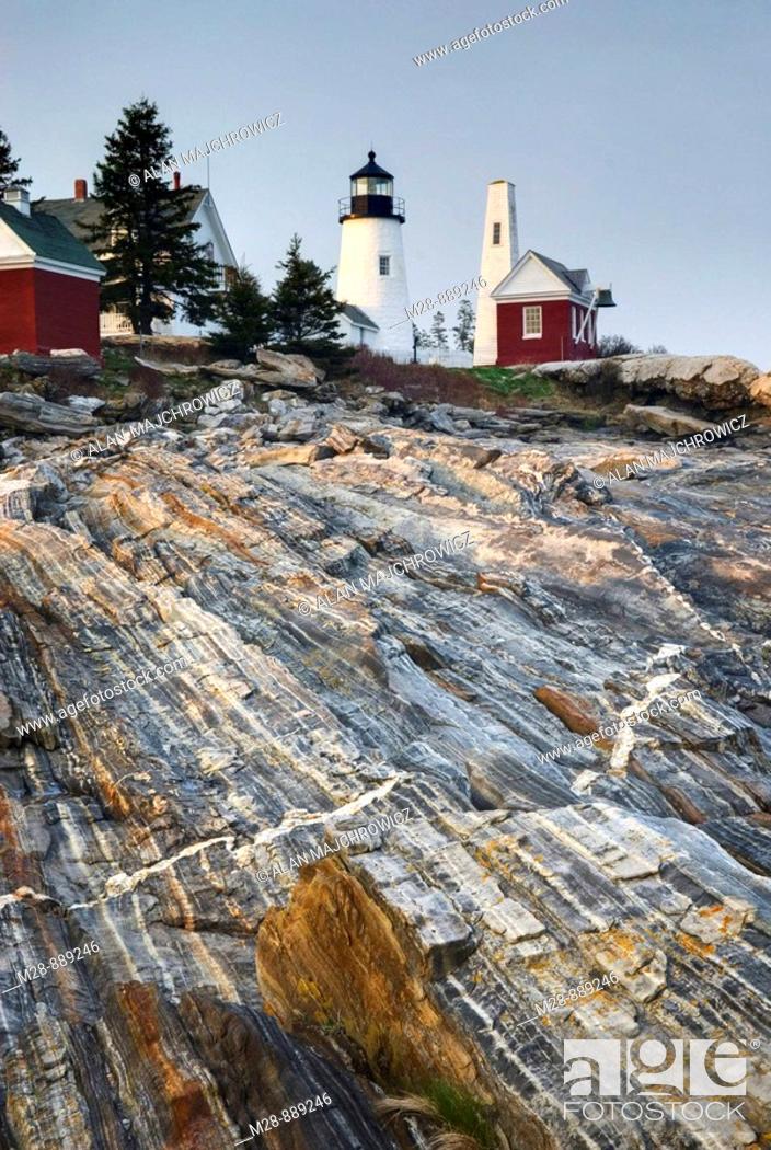 Stock Photo: Pemaquid Point Lighthouse on striated metamorphic rocks of Pemaquid Point, Bristol Maine.