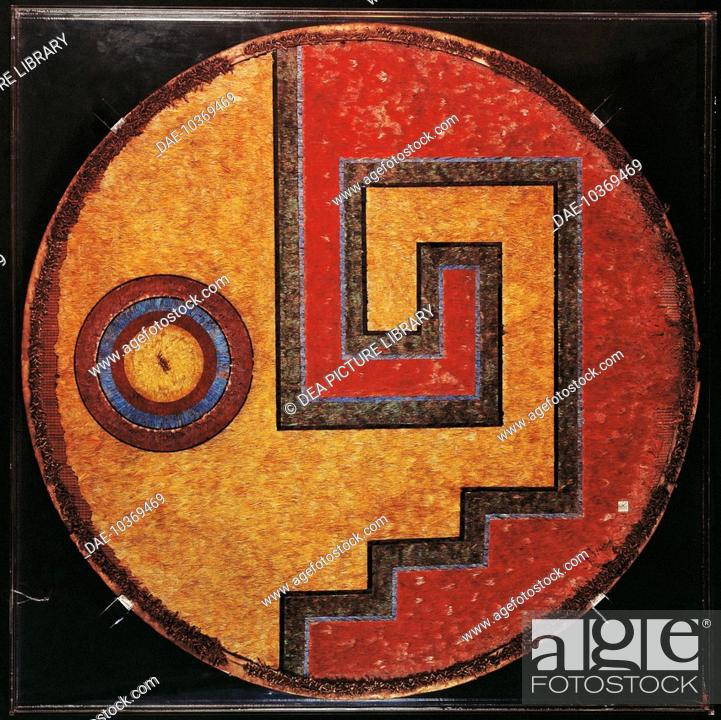 9d93d00140f39 Stock Photo - Aztec civilization, Mexico. Feather shield with a linear  meander design incorporating eye motifs. From the Mexican Altiplano .