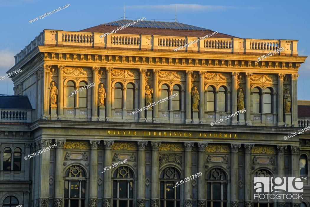 Stock Photo: Morning light on Hungarian Academy of Sciences building, Budapest, Central Hungary, Hungary.