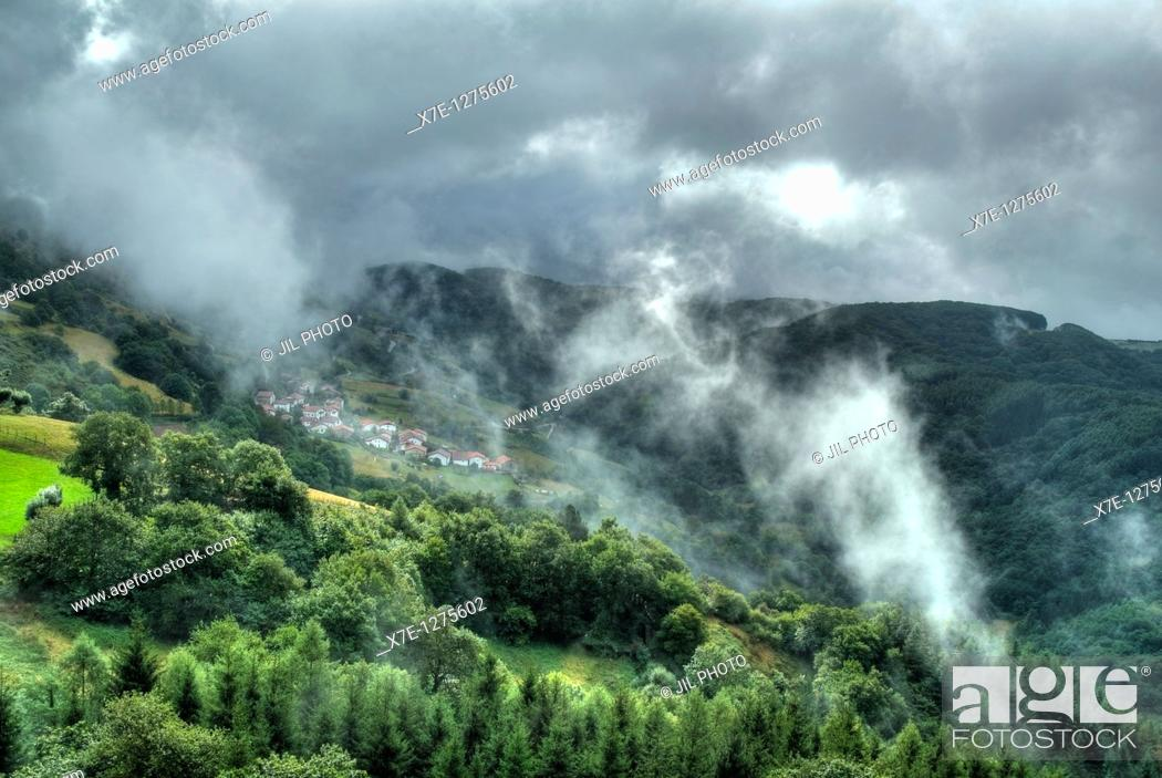 Stock Photo: Fog on the port Azpiroz  Navarra  Basque Country  Spain.