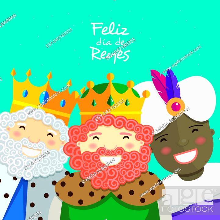 Stock Vector: Happy three kings smiling and spanish text on a green background. Vector illustration.