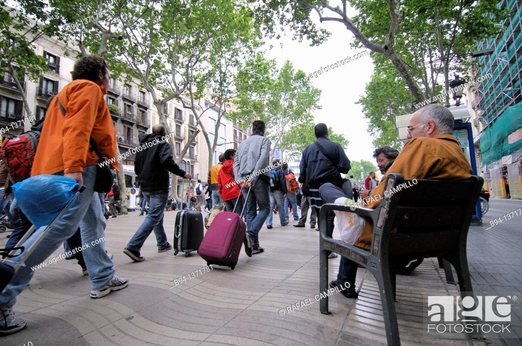 Stock Photo: La Rambla, Barcelona, Catalonia, Spain.