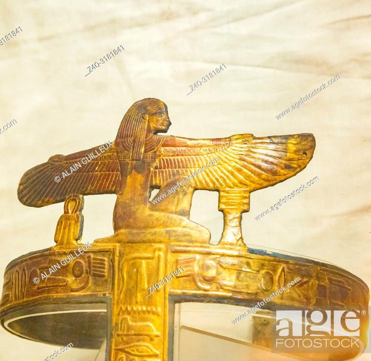 Stock Photo: Egypt, Cairo, Egyptian Museum, from the tomb of Yuya and Thuya in Luxor : Gilded bands for Yuya mummy, made of cloth and plaster.