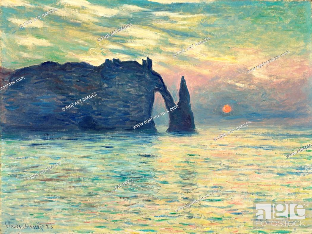 Stock Photo: The Cliff, Étretat, Sunset by Monet, Claude (1840-1926)/Oil on canvas/Impressionism/1882-1883/France/Fine Art Museum of North Carolina/60,5x81.