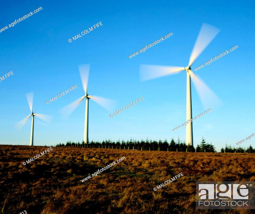 Stock Photo: Windfarm, Central Scotland.