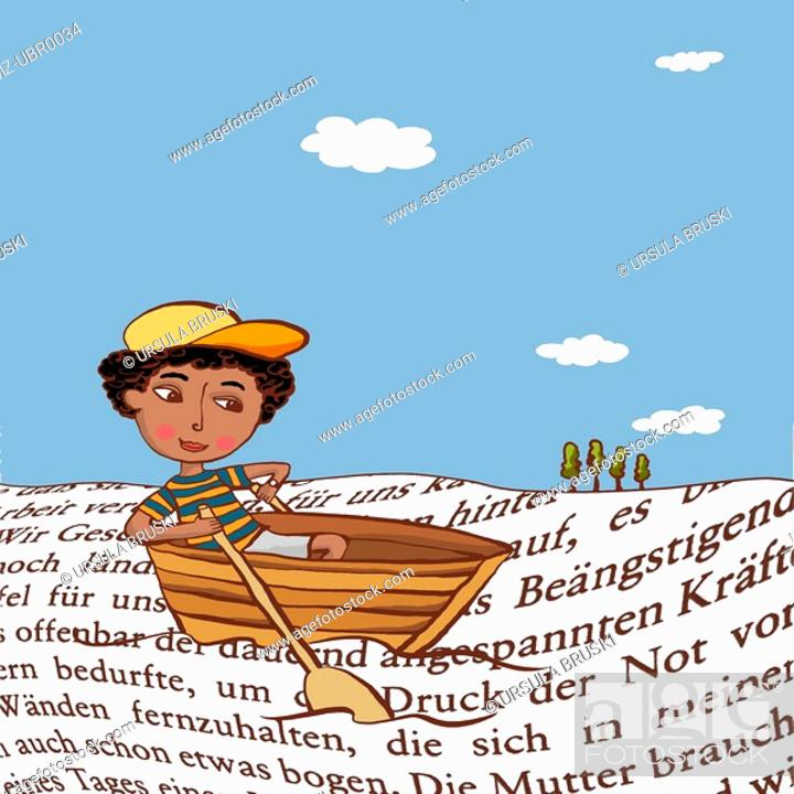 Stock Photo: A young boy in a row boat surrounded by waves of words.