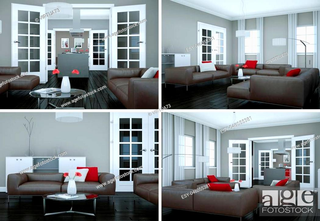 Stock Photo: Four views of modern interior loft design 3d Illustration.
