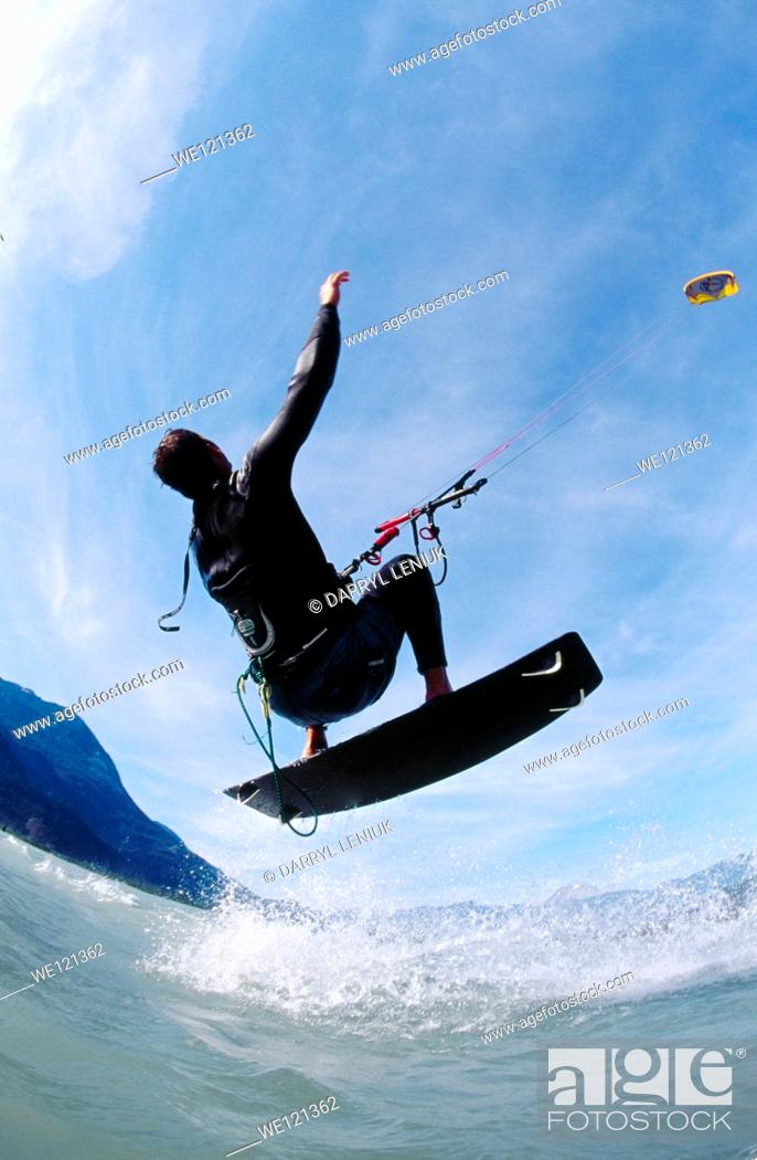 Stock Photo: Kite surfer  Squamish  British Columbia  Canada.