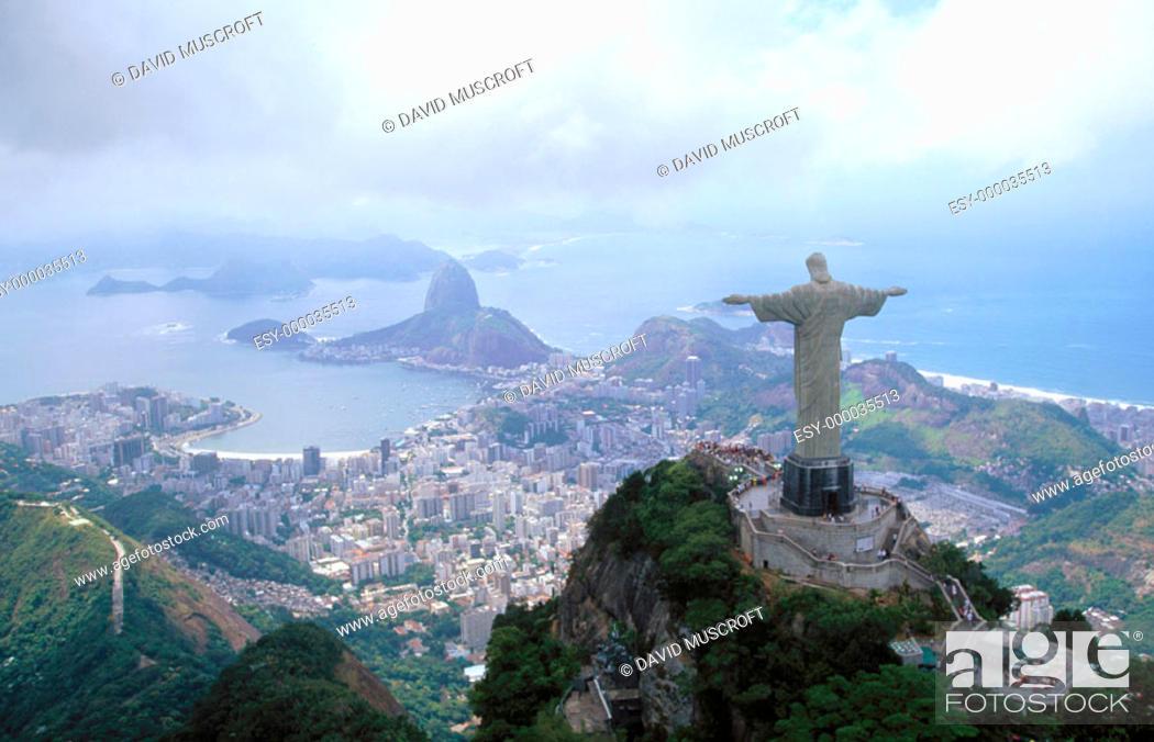 Stock Photo: Statue of Christ the Redeemer. Corcovado Mountain. Rio de Janeiro. Brazil.