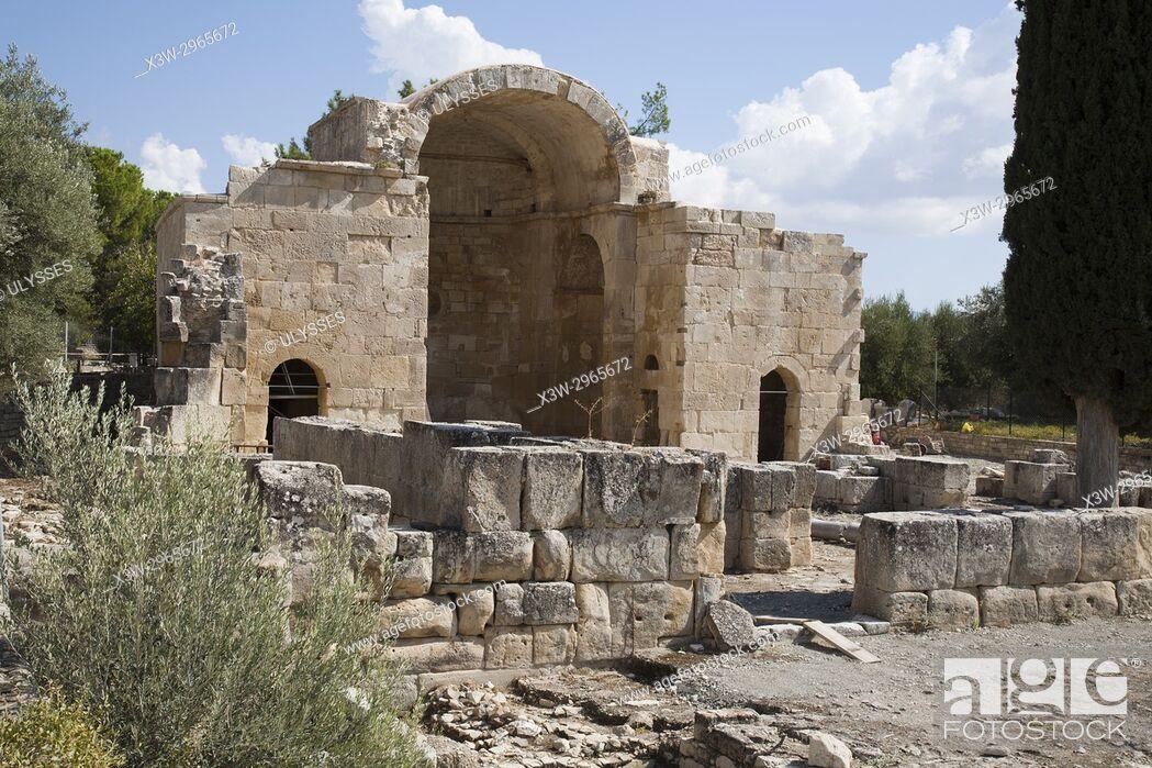 Stock Photo: Basilica of Agios Titos, Archaeological site of Gortyna, Crete island, Greece, Europe.