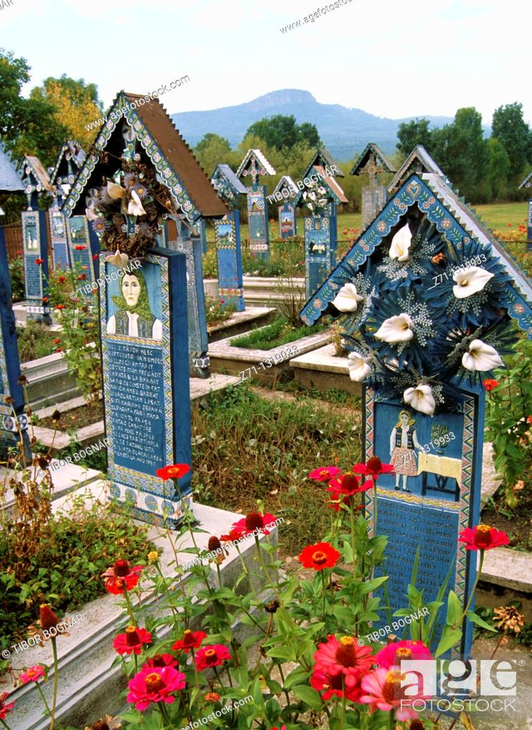 Stock Photo: Romania, Maramures, Sapanta, Merry Cemetery,.