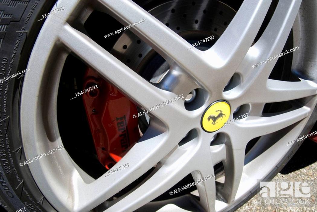 Stock Photo: Ferrari wheel and brake system.