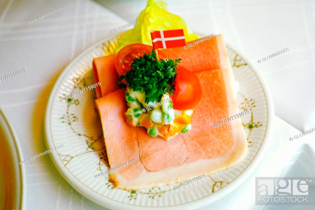 Stock Photo: High angle view of a sandwich on a plate, Copenhagen, Denmark.