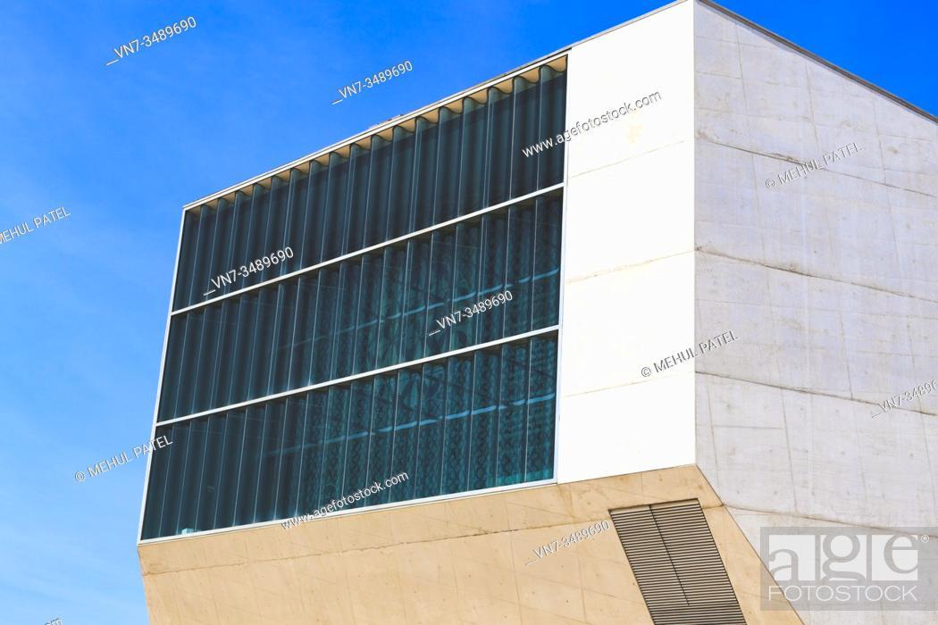 Stock Photo: Side view exterior of the Casa de Música building - Porto, Portugal. The Casa de Música is a uniquely designed and engineered concert hall and cultural venue in.