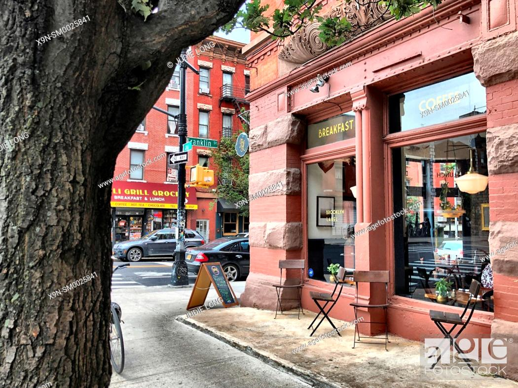 Stock Photo: Brooklyn, NY, Greenpoint. Looking at a Restaurant and the Street Beyond.