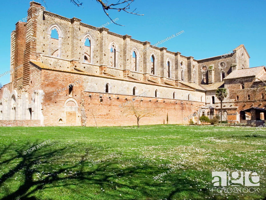 Stock Photo: Ruins of the Gothic abbey of San Galgano. Siena. Tuscany, Italy.