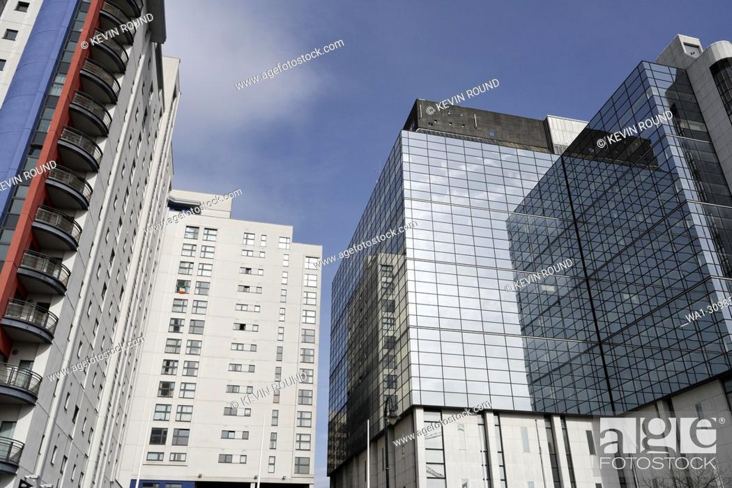 Stock Photo: High Rise buildings on Churchill Way, Cardiff city centre, Wales UK.
