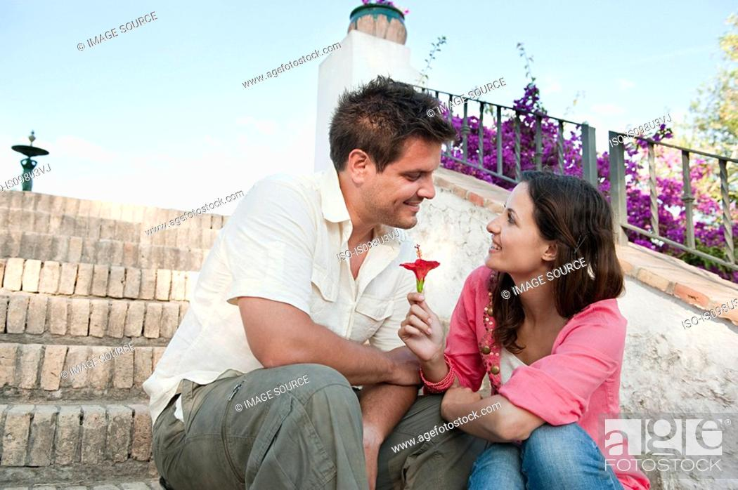 Stock Photo: Young romantic couple on holiday.