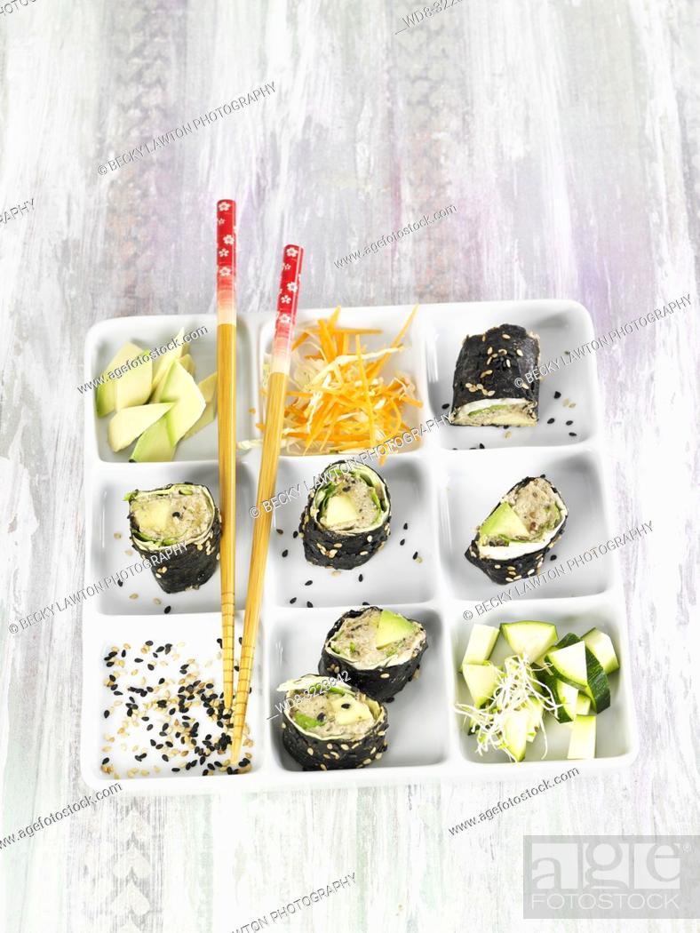 Stock Photo: rollitos de algas nori / nori seaweed rolls.