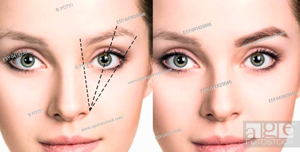 Imagen: Eyebrows correction. Female face before and after eyebrows shape correction.
