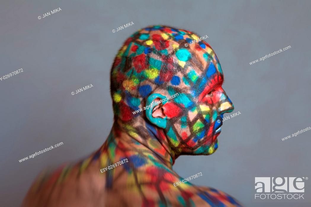 Superhero Profile Portrait Colorful Body Art With Tilt Shift And Motion Blur Effect Stock Photo Picture And Low Budget Royalty Free Image Pic Esy 026970872 Agefotostock