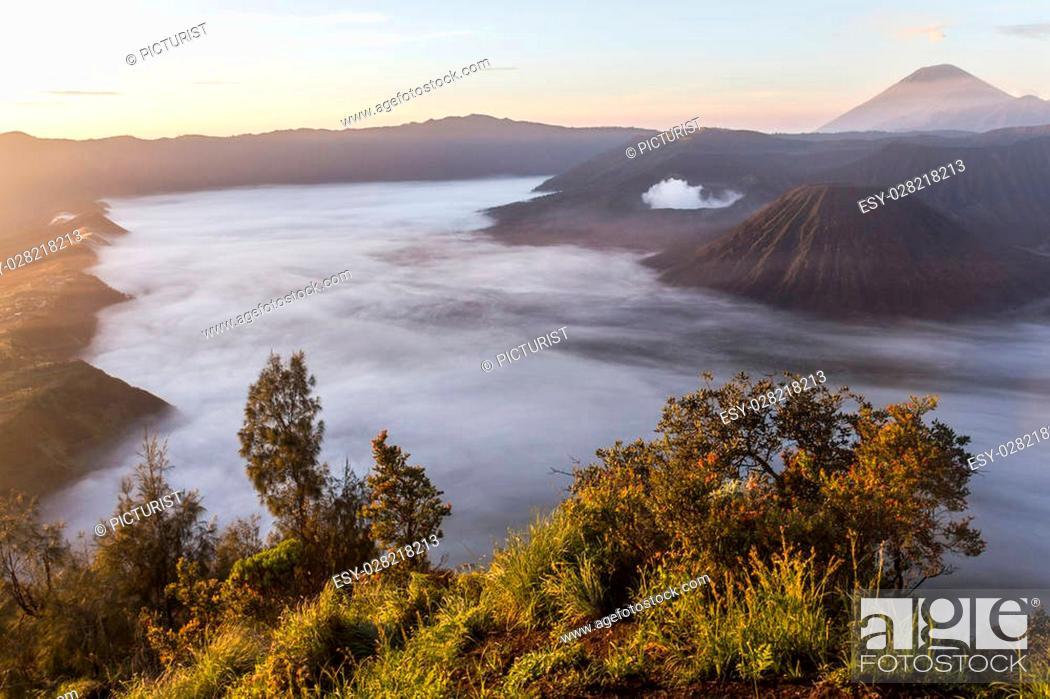 Stock Photo: View on Mount Bromo landscape before sunrise, Java, Indonesia.