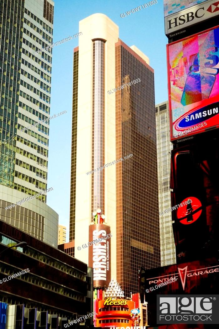Stock Photo: Low angle view of buildings in a city, Times Square, Manhattan, New York City, New York State, USA.