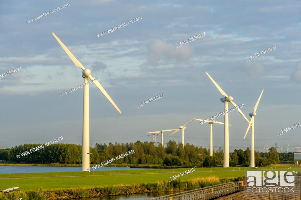 Photo de stock: Wind power generators (windmills) near Hoogerheide, a village in North Brabant, Netherlands, near the border to Belgium.