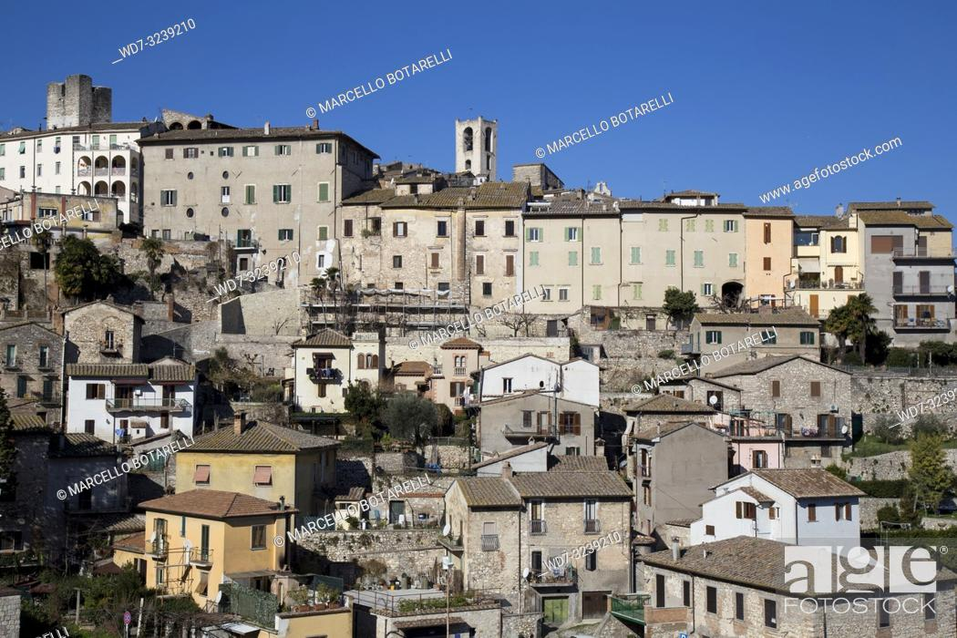 Stock Photo: view of the city of Narni, near Terni, Umbria, Italy.