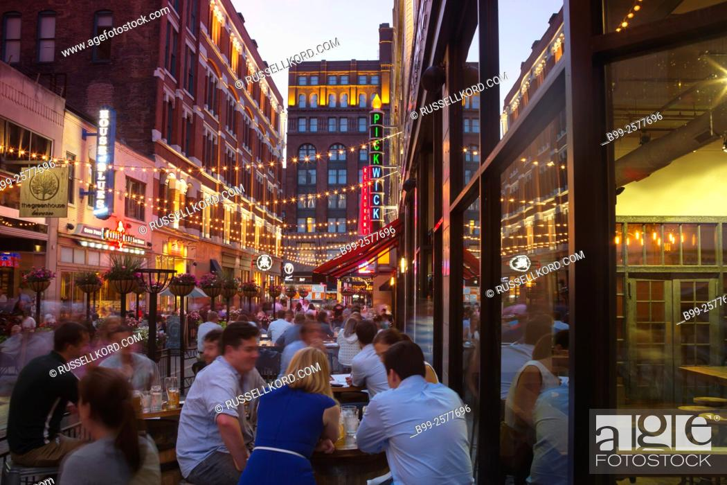 Stock Photo Outdoor Restaurants East Fourth Street Downtown Cleveland Ohio Usa
