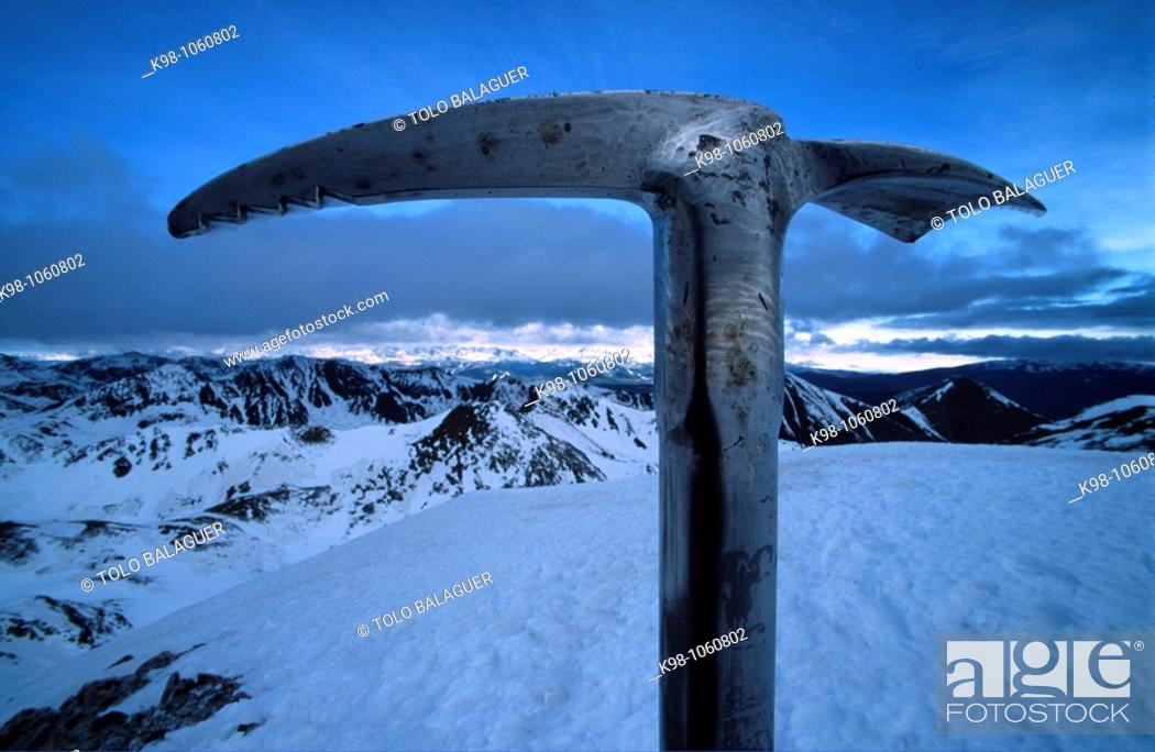 Stock Photo: Bastiments (2881 m) peak, Pyrenees Mountains, Girona province, Catalonia, Spain.