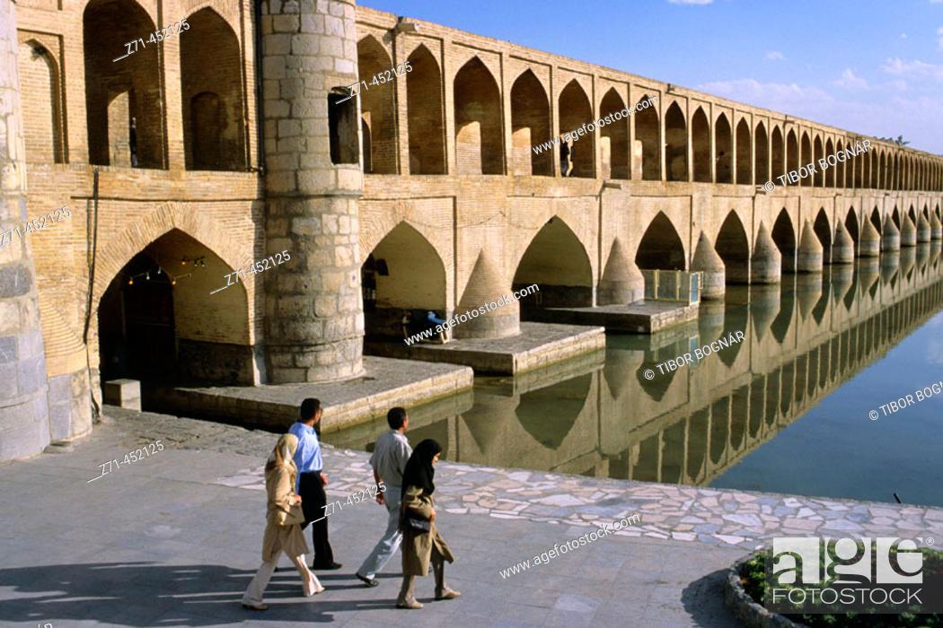 Stock Photo: Si-o-Seh Pol, bridge of thirty-three arches, Esfahan. Iran.