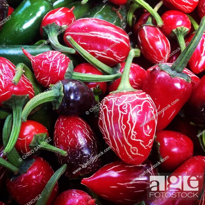 Stock Photo: Red hot chilli peppers in a market in Mexico City, Mexico.