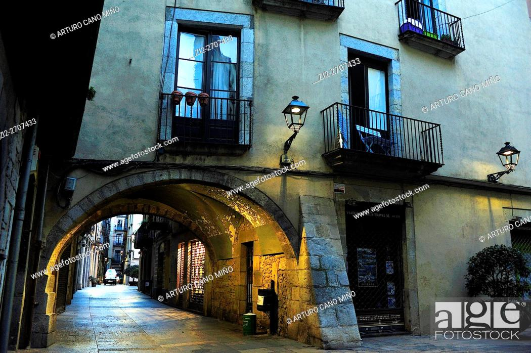 Stock Photo: Barri Vell (Historical Downtown). Girona, Spain.